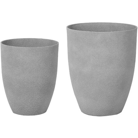 Plant Pot Set Stone Grey CROTON