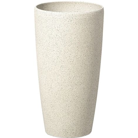 Plant Pot Stone 23 x 23 x 43 cm Beige ABDERA