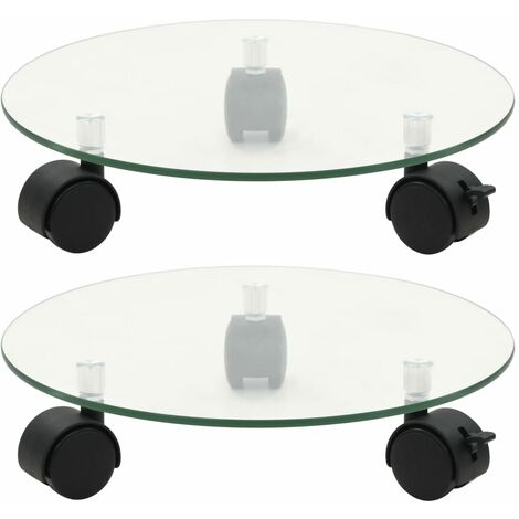 Plant Rollers 2 pcs Tempered Glass 28 cm Round