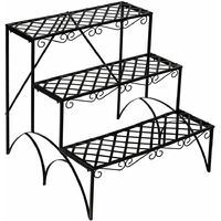 Plant stand with 3 levels - outdoor plant stand, pot stand, plant shelf - black