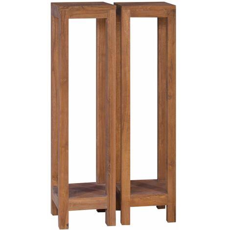 Plant Stands 2 pcs 25x25x100 cm Solid Teak Wood