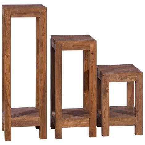 Plant Stands 3 pcs Solid Teak Wood