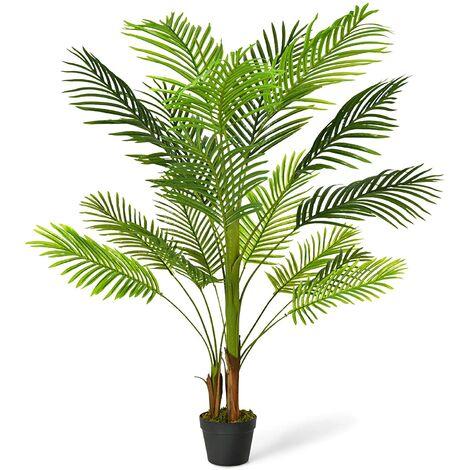 Planta Artificial Altura de 130 cm Palmera Artificial con Maceta Realísticas Planta Árbol Artificial para Oficina Hogar Decoración