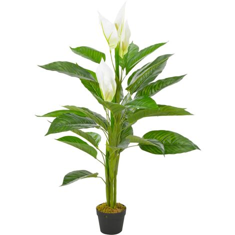 Planta artificial Anthurium con macetero 115 cm blanco