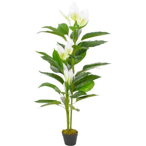 Planta artificial Anthurium con macetero 155 cm blanca