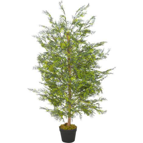 Planta artificial árbol ciprés con macetero 120 cm verde