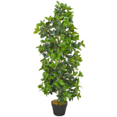Planta artificial árbol de laurel con macetero 120 cm verde