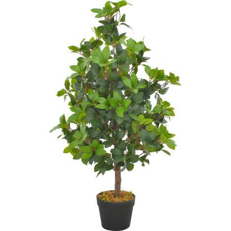 Planta artificial árbol de laurel con macetero 90 cm verde