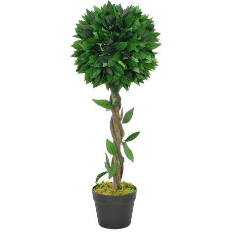 Planta artificial árbol de laurel con macetero verde 70 cm