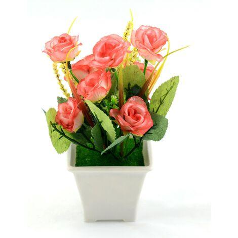 Planta artificial con flor (9x18 cm) Salmón