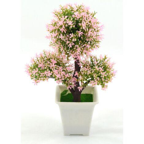 Planta artificial con maceta (17x25 cm) Bonsái Rosa