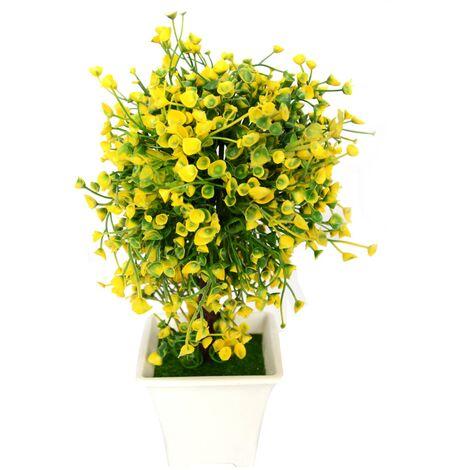 Planta artificial con maceta (23x14 cm) Amarillo