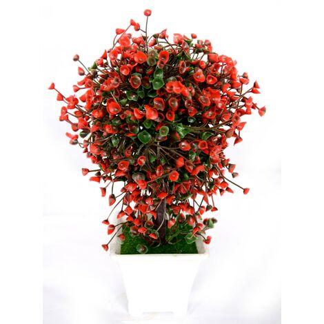 Planta artificial con maceta (23x14 cm) Rojo