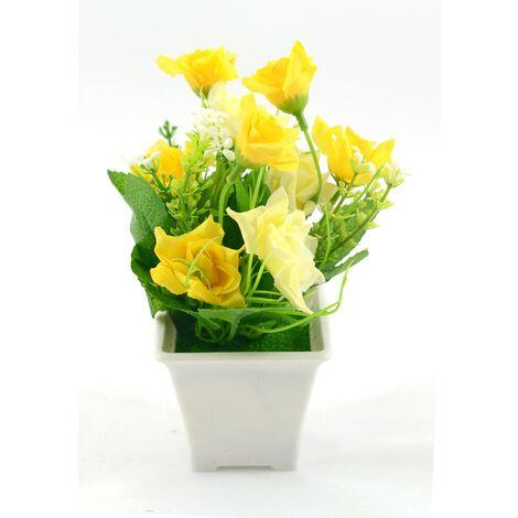 Planta artificial con maceta (9x18 cm) Amarillo oscuro