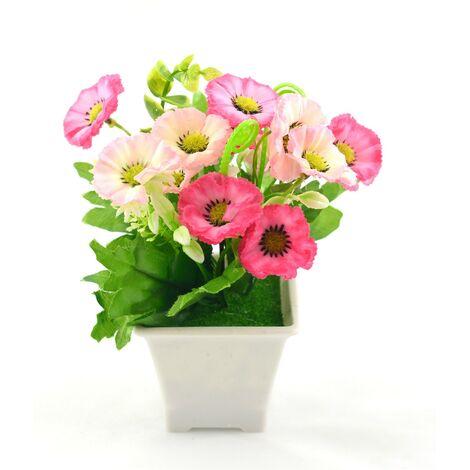 Planta artificial con maceta (9x18 cm) Rosa