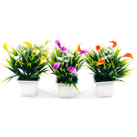 Planta artificial con maceta Amarillo