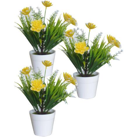 Planta Artificial con Maceta Blanca, Flores Decorativas PVC, Decoración de Hogar. Amarillo
