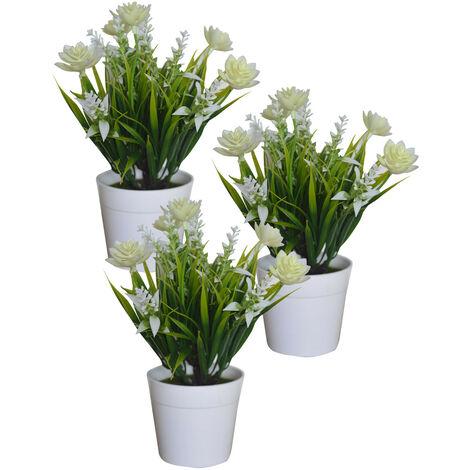 Planta Artificial con Maceta Blanca, Flores Decorativas PVC, Decoración de Hogar. Blanco