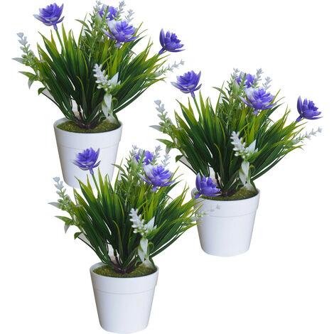 Planta Artificial con Maceta Blanca, Flores Decorativas PVC, Decoración de Hogar. Morado