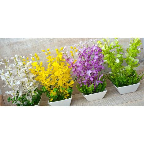 Planta Artificial con Maceta de Cerámica Natural Blanca Hogarymás Color - Amarillo