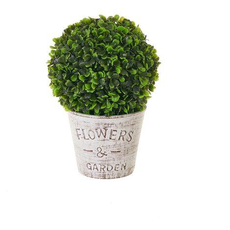 Planta artificial con maceta verde de plástico de Ø 17x25 cm