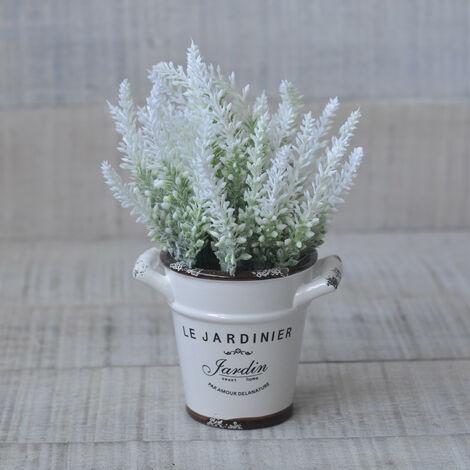 Planta artificial de lavanda con original maceta de cerámica en 3 colores Flower Power - Hogar y más Blanco