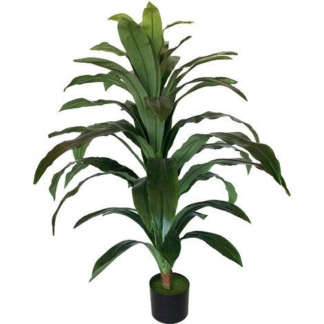 Planta artificial Dracena de 100 cm de altura en color verde con maceta