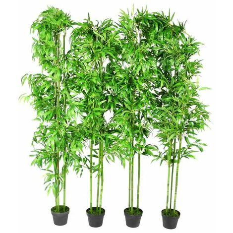 Planta artificial en maceta, bambu, 4 unidades, 190 cm