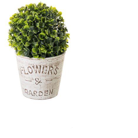 Planta artificial en maceta beige de cemento shabby chic de21x13x13 cm