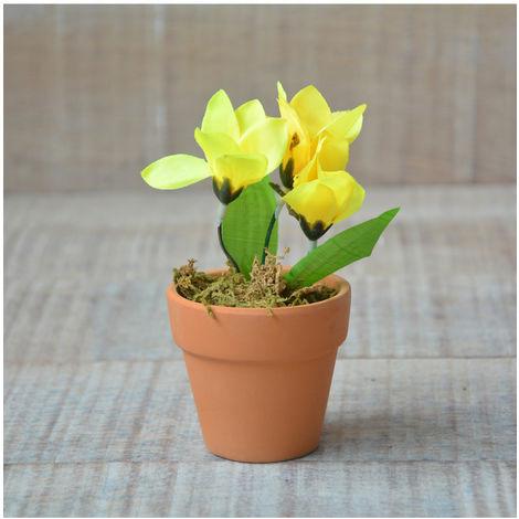 Planta Artificial Flor Amarilla con Maceta de Barro Natural Hogar y Más