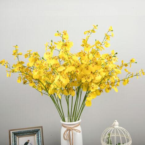 Planta artificial flores artificiales de color amarillo, amarillo, ramita
