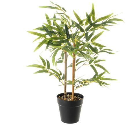 Planta artificial hojas verde bambú de plástico de 63x14x14cm