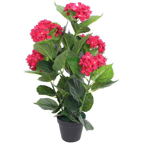 Planta artificial hortensia con macetero 60 cm roja