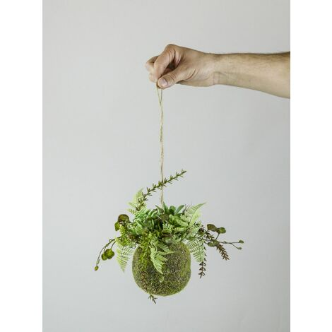 Planta artificial. KOKEDAMA HELECHO BOLA. 47 cm. HD Alto realismo. Tacto natural