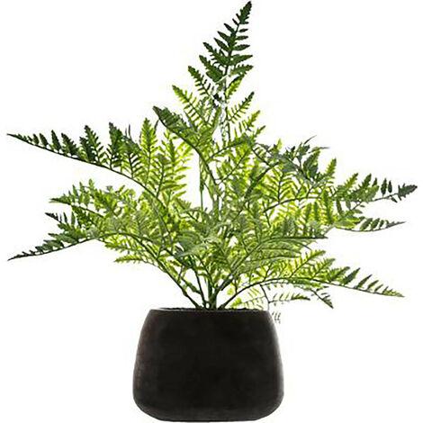 Planta Artificial, Maceta Negra Cemento, Helecho Hierba Decoración Interior