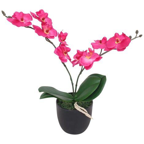Planta artificial orquídea con macetero 30 cm roja - Multicolor