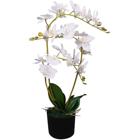 Planta artificial orquídea con macetero 65 cm blanca - Multicolor