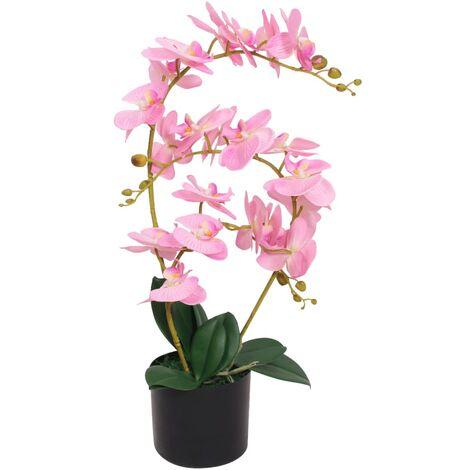 Planta artificial orquídea con macetero 65 cm rosa - Multicolor