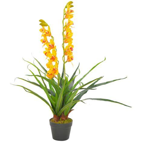 Planta artificial orquídea con macetero 90 cm amarilla