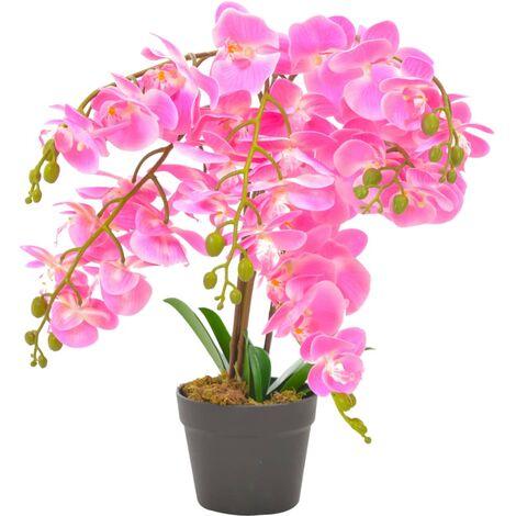 Planta artificial orquídea con macetero rosa 60 cm - Verde