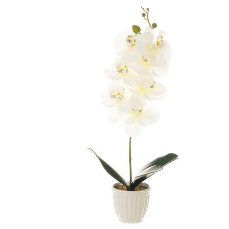 Planta artificial orquídea verde de poliéster de 22x12x58 cm