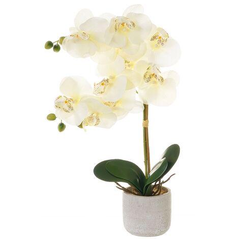 Planta artificial orquídea verde de poliéster de 31x11x50 cm