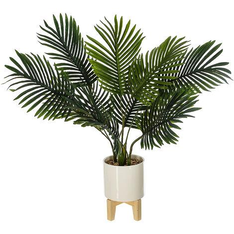 Planta artificial Palmera Altura 72 con maceta cerámica con patas de madera