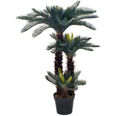 Planta artificial palmera cica con macetero 125 cm verde