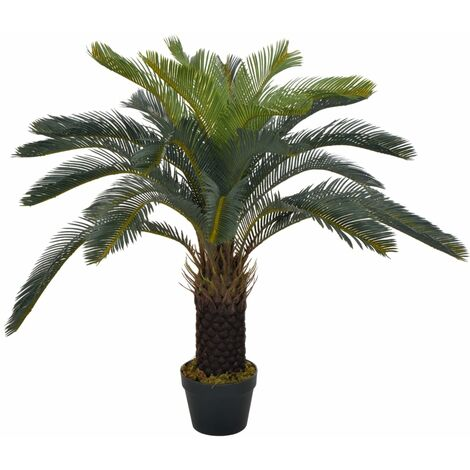 Planta artificial palmera cica con macetero 90 cm verde