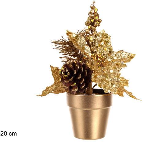 Planta artificial poinseitia con maceta y bolas dorada, navidad