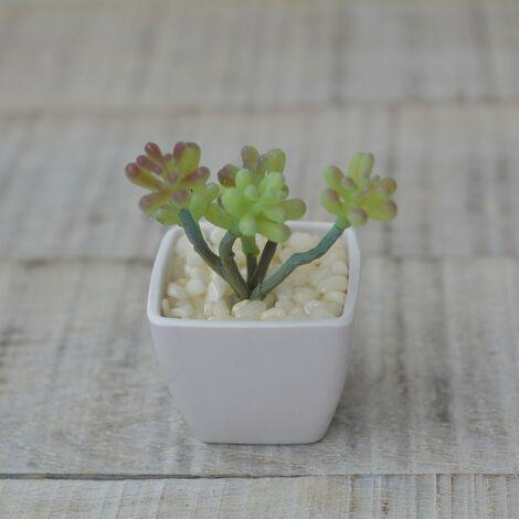 Planta Cactus Artificial con Maceta Blanca de Cerámica Natural Hogar y Más