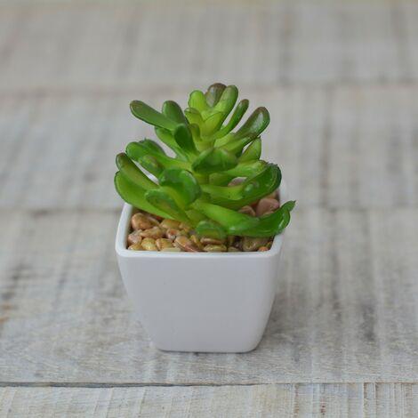 Planta Cactus Artificial con Maceta Blanca de Cerámica Natural Verde Marrón Hogar y Más