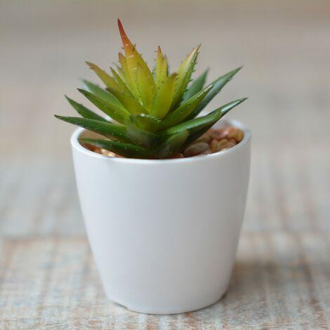 Planta Cactus Artificial con Maceta Cerámica Natural Color Blanco para Decoración