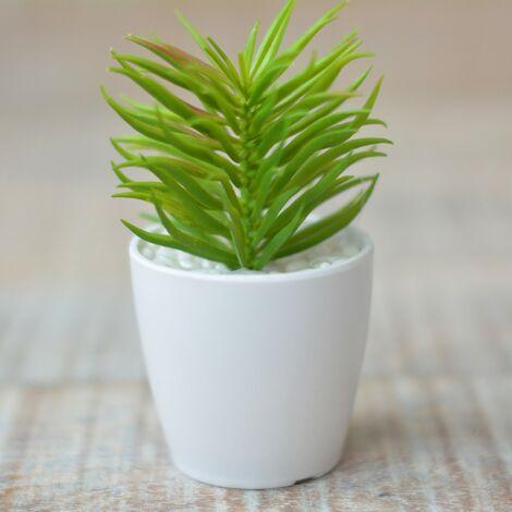 Planta Cactus Artificial con Maceta Cerámica Natural Color Blanco para Decoración Hogar y Más